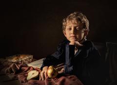 Stock Photo of Boy with pears fine art imitation
