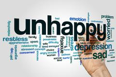 Unhappy word cloud concept Stock Illustration