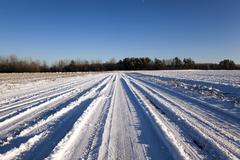 winter road , snow - stock photo