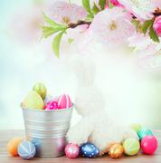 egg hunt with easter bunny - stock photo