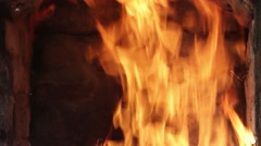 Image of a burning fire, with flames higher and the end is more sedate Stock Footage