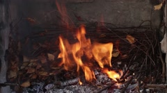 Dry twigs burning, fire burning. Coals of wood burned Stock Footage