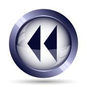 Rewind icon. Internet button on white background.. Stock Illustration