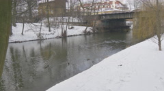 Ducks Are Floating by a River Rippling Water Snow is on a Ground Bare Branches Stock Footage