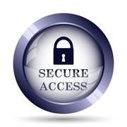 Secure access icon. Internet button on white background.. - stock illustration