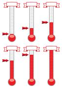 Vector goal thermometers at different levels Stock Illustration