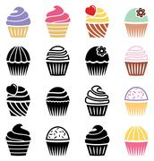 vector collection of black and white and colorful cupcake icons - stock illustration