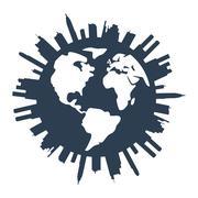vector global panorama urban design - stock illustration