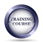 Training course icon. Internet button on white background.. - stock illustration