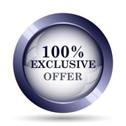 Stock Illustration of 100% exclusive offer icon. Internet button on white background..