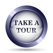 Stock Illustration of Take a tour icon. Internet button on white background..