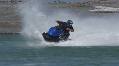 Jet ski on corner in super slow motion Stock Footage