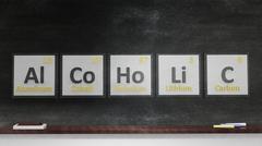 Periodic table of elements symbols used to form word Alcoholic, on blackboard - stock illustration