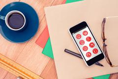 Composite image of telephone apps icons - stock photo