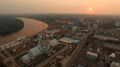 aerial view of wat sothorn temple thailand - stock footage