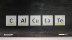 Periodic table of elements symbols used to form word Calculate, on blackboard Stock Illustration