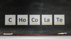 Stock Illustration of Periodic table of elements symbols used to form word Chocolate, on blackboard