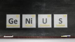 Periodic table of elements symbols used to form word Genius, on blackboard - stock illustration