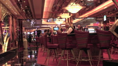 Cruise ship luxury bar and lounge near casino HD 020 Stock Footage
