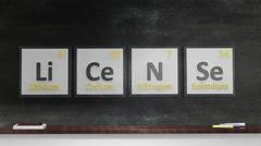 Periodic table of elements symbols used to form word License, on blackboard - stock illustration