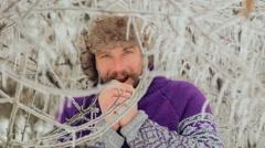 Bearded man froze in the winter woods. Stock Footage