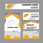 Set of business card template for construction business - stock illustration