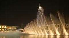 Dubai Fountain at night Stock Footage