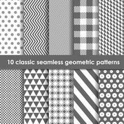 Set of 10 monochrome classic seamless geometric patterns Stock Illustration