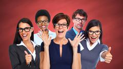 Group of business people wearing eyeglasses. Stock Photos