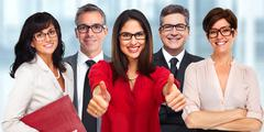 Group of business people wearing eyeglasses. - stock photo