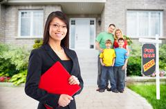 Asian Real Estate agent woman near new house. - stock photo