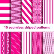 10 Seamless striped vector patterns Stock Illustration