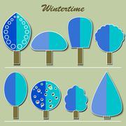 set of winter trees - stock illustration