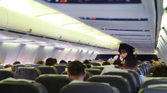 Inside passenger cabin of commercial airliner PAN Stock Footage