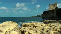 Malta, historic Wignacourt Tower, St Paul's Bay Stock Footage