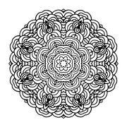 Hand drawn mandala arabic template for design - stock illustration