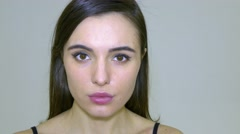 Face Of Young Emotional Woman Stock Footage