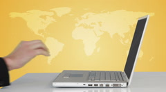 Men silhouettes popping up from laptop Stock Footage