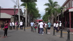 Falmouth Jamaica Caribbean busy downtown street HD Stock Footage