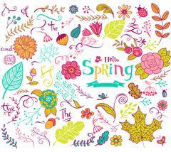 Floral spring design elements in doodle style Stock Illustration