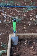 garden planter and trowel - stock photo