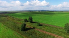Aerial view over rural field in the late spring Stock Footage