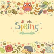 Hello Spring banner in doodle style Stock Illustration