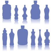 Set of Blue Bottles Silhouettes - stock illustration