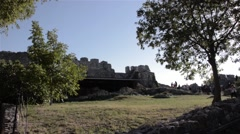 Group of tourists visit the ruins of an ancient fortress, admire the landscape 6 Stock Footage