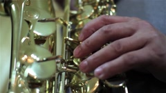 People singing folk music at a party at the saxophone - stock footage