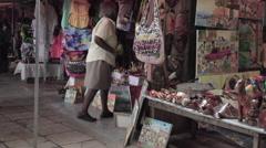 Falmouth Jamaica Caribbean souvenir shops HD Stock Footage