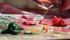 Palette is a wooden, porcelain and so on, usually provided with an opening  Stock Footage
