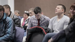 A group of students listen to lectures - stock footage
