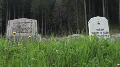Tombstones in the cemetery of heroes. Some of them are lost in the grass  - stock footage